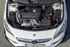 picture of whats under the hood of a 2018 Mercedes-Benz CLA Coupe