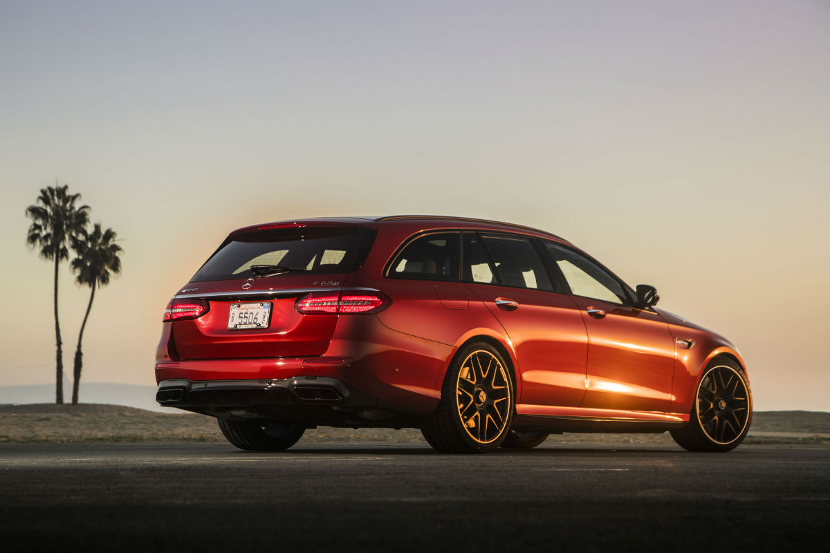 ... Rear View Of A Red 2018 Mercedes Benz E Class Wagon Parked Near A