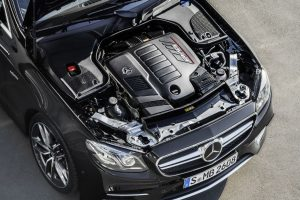 top down view of the engine of a Mercedes-AMG E 53 Coupe