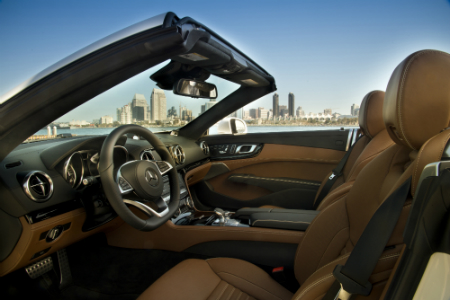 side view of front interior of 2018 mercedes-benz sl 450