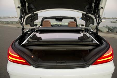 rear cargo view of white 2018 mercedes-benz sl 450