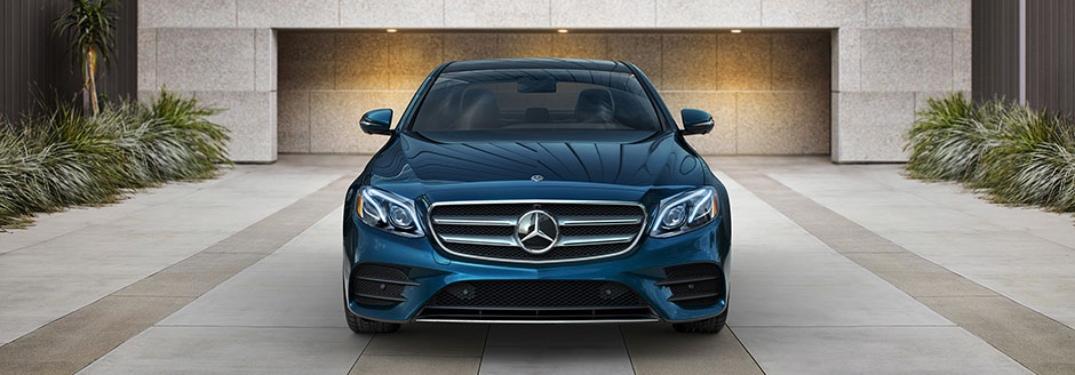 Front view of a blue 2018 Mercedes-Benz E-Class