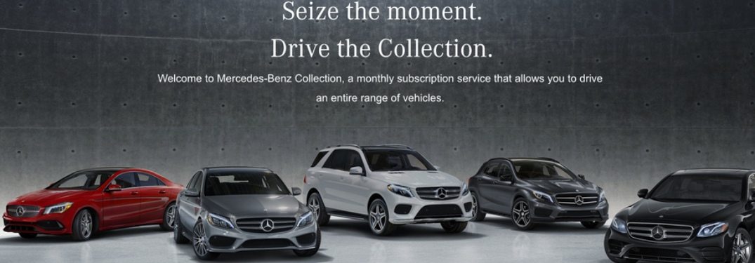 Lineup of Mercedes-Benz vehicles part of the Mercedes-Benz Collection service