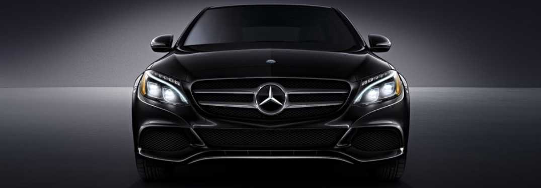 Front view of a black 2018 Mercedes-Benz C-Class