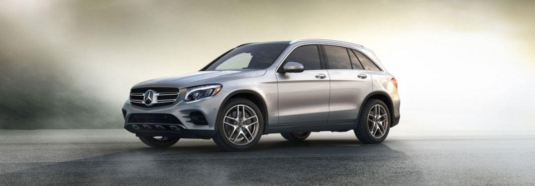 Side view of a silver 2018 Mercedes-Benz GLC