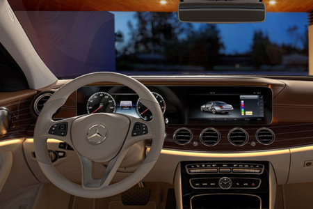 Cockpit view in the 2018 Mercedes-Benz E-Class