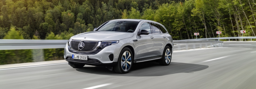 Silver Mercedes-Benz EQC driving on open road