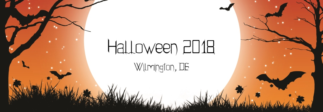 Halloween 2018 Wilmington DE text on spooky Halloween background