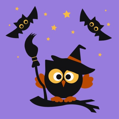 Halloween owl by two bats