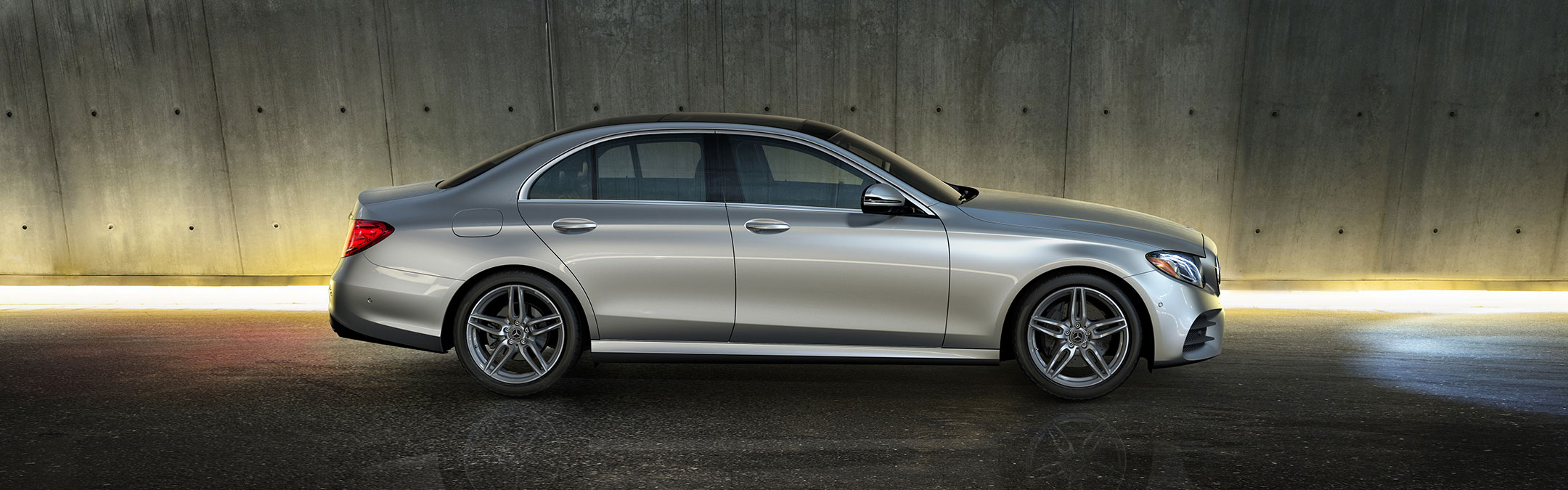 Side view of a silver 2019 Mercedes-Benz E-Class