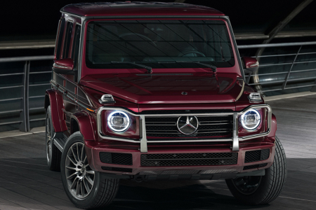 Front view of a red 2019 Mercedes-Benz G-Class