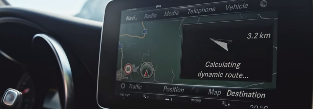 Infotainment system using navigation in a Mercedes-Benz vehicle