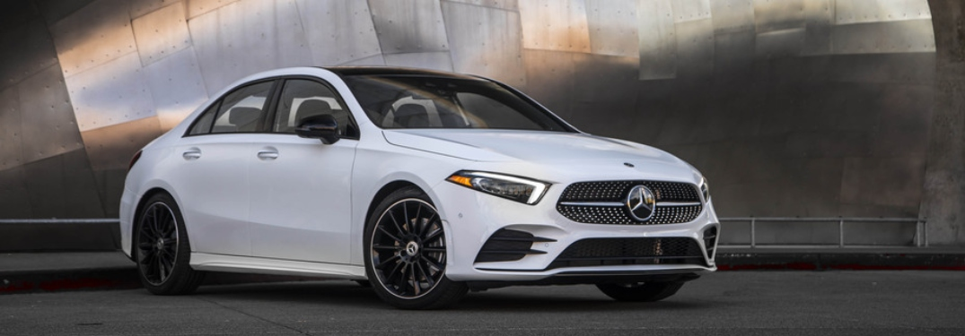 Side view of a white 2019 Mercedes-Benz A-Class