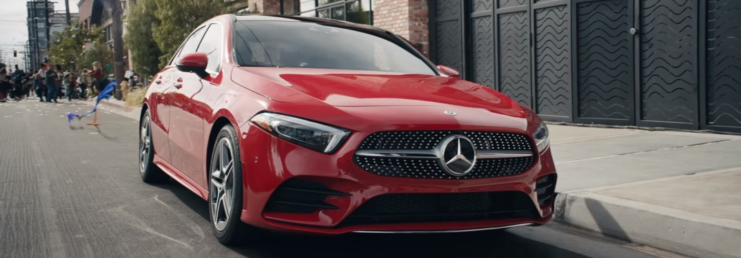 Front view of a red 2019 Mercedes-Benz A-Class parked on city street