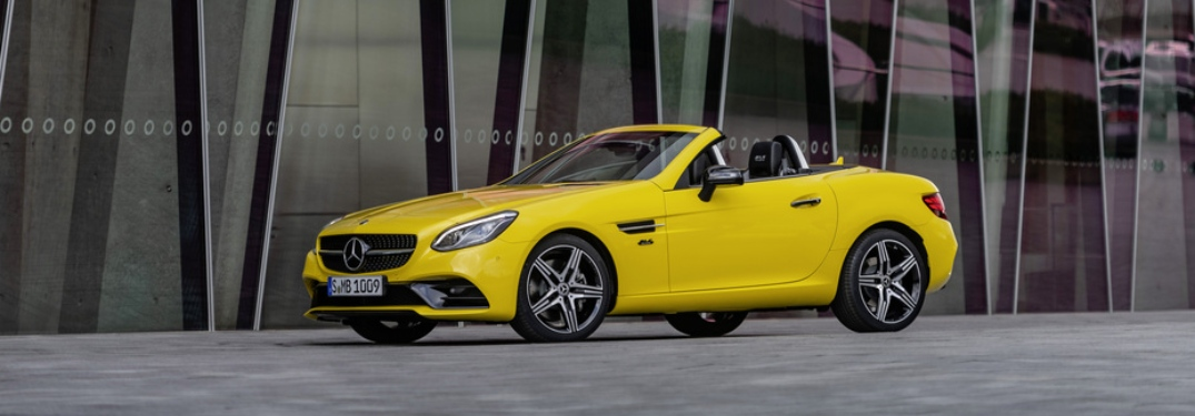Side view of a yellow 2020 Mercedes-Benz SLC Final Edition
