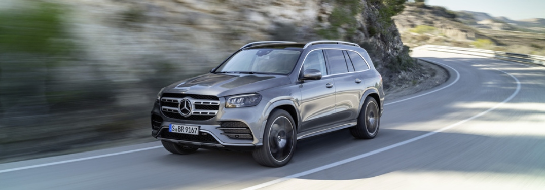 Side view of a 2020 Mercedes-Benz GLS driving on open road