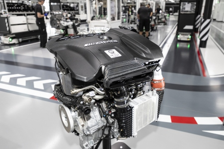 Closeup of the Mercedes-AMG® 2.0-liter M 139 turbocharged engine