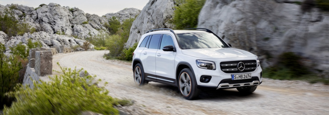 White 2020 Mercedes-Benz GLB driving on trail
