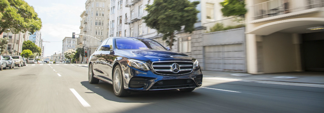 front and side view of blue 2018 mercedes-benz e 300 sedan