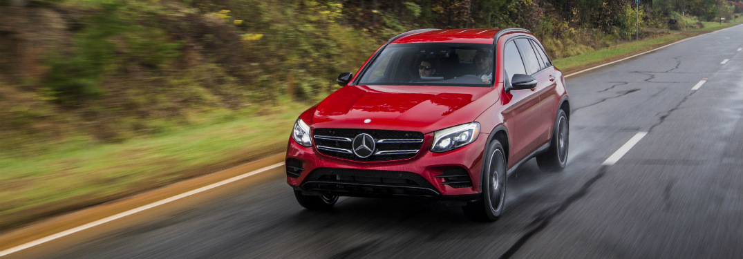 front and side view of red 2018 mercedes-benz glc 300