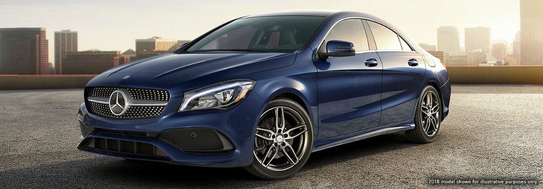 front and side view of blue 2019 mercedes-benz cla 250
