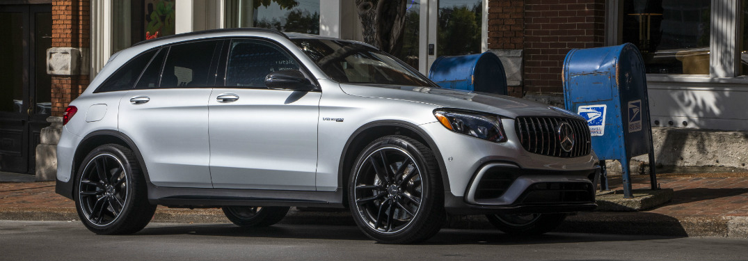 front and side view of silver 2019 mercedes-benz glc 300