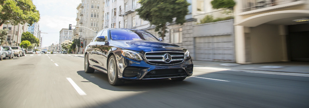 front and side view of blue 2019 mercedes-benz e300 sedan