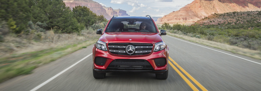 front end of red 2019 mercedes-benz gls 550 suv