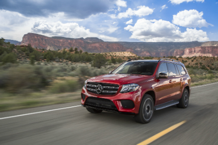 front and side view of red 2019 mercedes-benz gls 550 suv