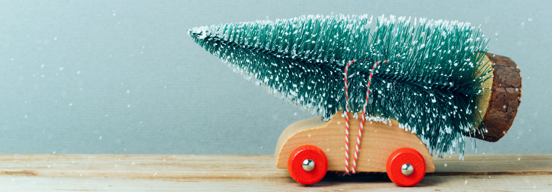 wooden toy car with toy christmas tree strapped to it
