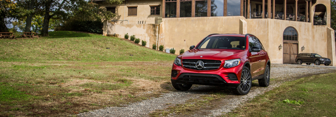 front and side view of red 2019 mercedes-benz glc 300 suv