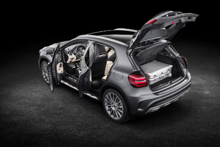 rear and side view of gray 2019 mercedes-benz gla 250 suv with doors and trunk open
