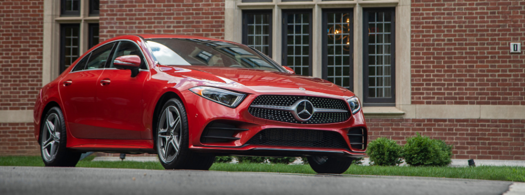front and side view of red 2019 mercedes-benz cls coupe
