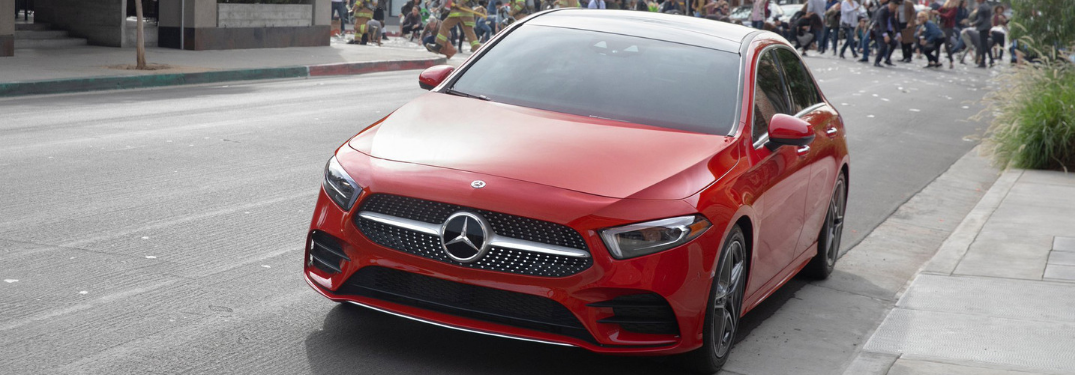 front and side view of red 2019 mercedes-benz a-class in mercedes-benz super bowl commercial