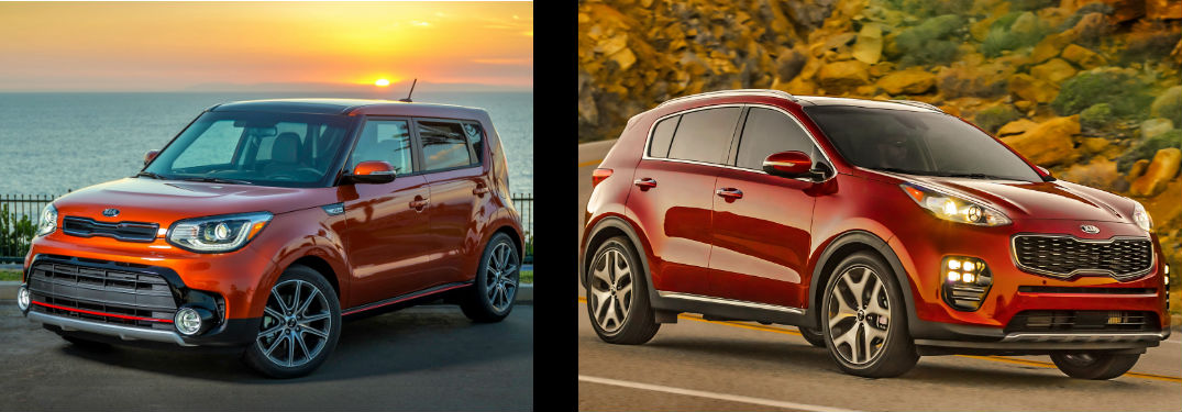 2018 Kia Soul and the 2018 Kia Sportage side by side separated by a black bar