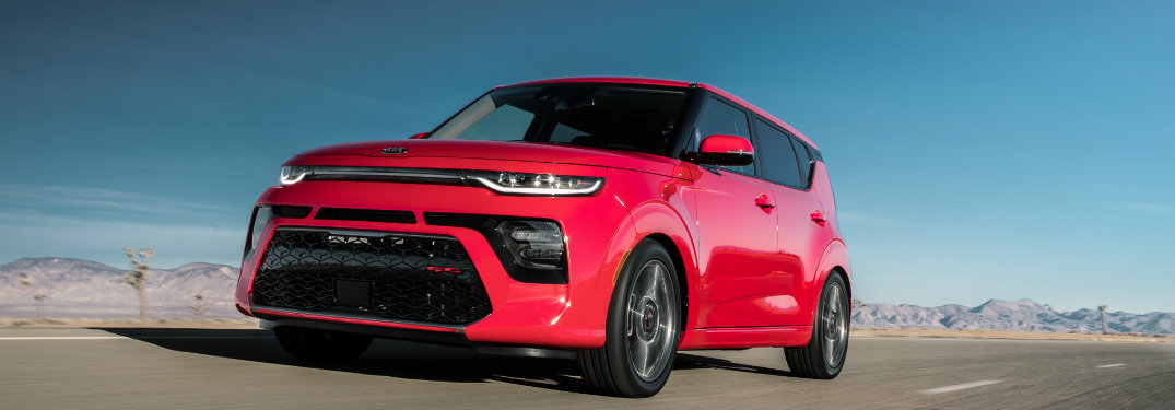 red 2020 Kia Soul GT Line on the road