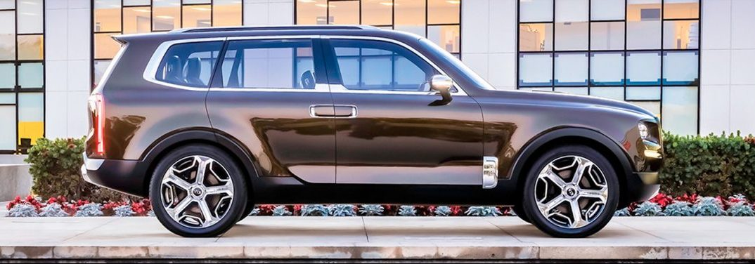 Glistening 2020 Kia Telluride parked in front of a building, side view.
