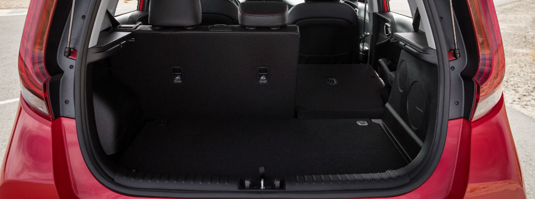 A photo of the cargo space in the rear of the 2020 Kia Soul.