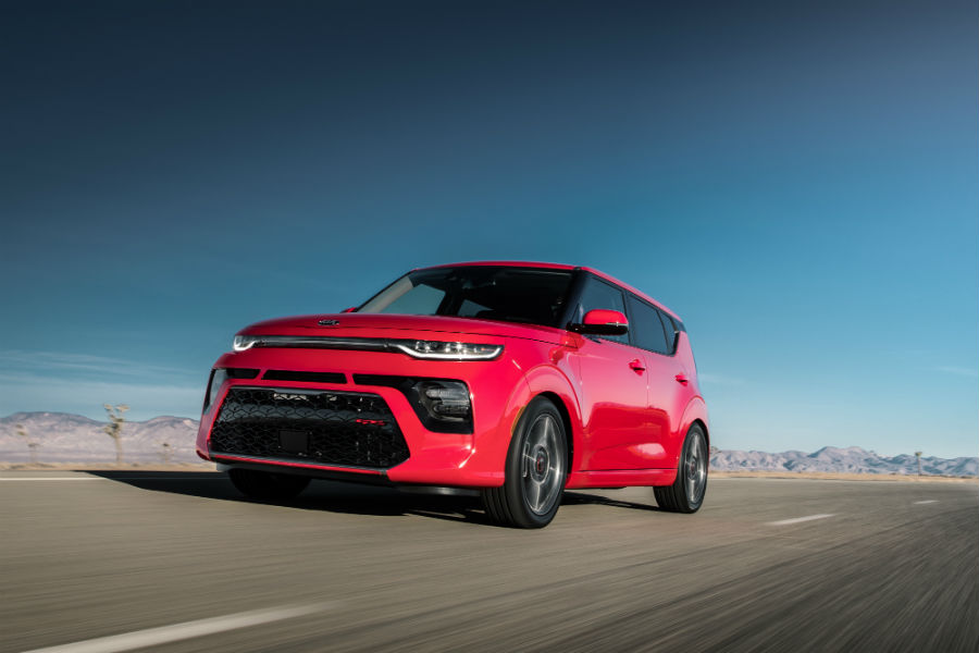 A front left quarter photo of the 2020 Kia Soul on the road.