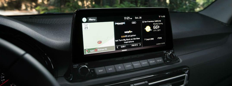 A photo of the touchscreen available in the 2021 Kia Seltos.