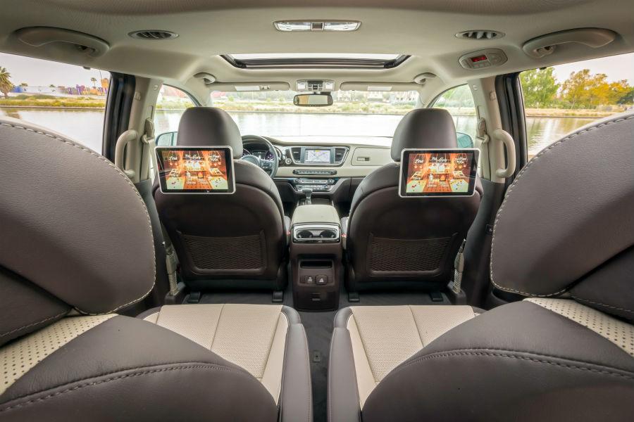 A photo of the interior in the 2021 Kia Sedona.