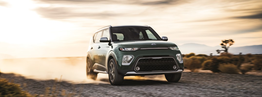 A photo of the 2021 Kia Soul driving through the desert.