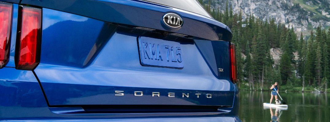 A photo of the Sorento badge used on the 2021 Kia Sorento.