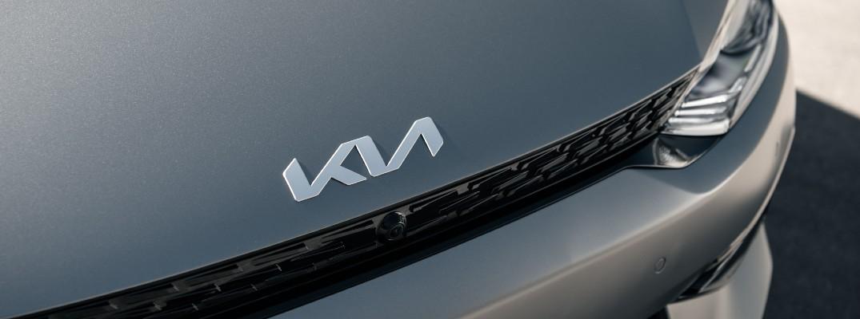 The Kia badge used on the 2022 Kia EV6.