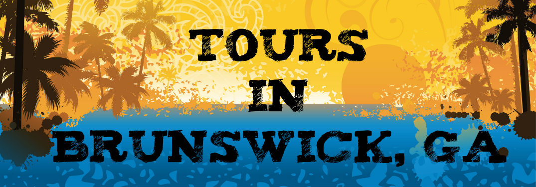 Tours in Brunswick, GA text on tropical background