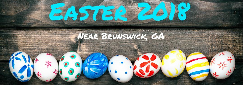 Easter 2018 Near Brunswick GA text over line of Easter Eggs