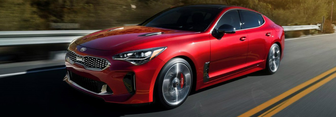 Side view of a red 2018 Kia Stinger