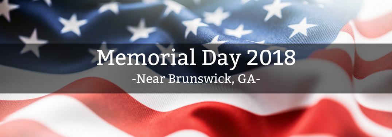 Memorial Dat 2018 near Brunswick GA text over American flag