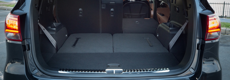 Folded down rear seats in the 2019 Kia Sorento