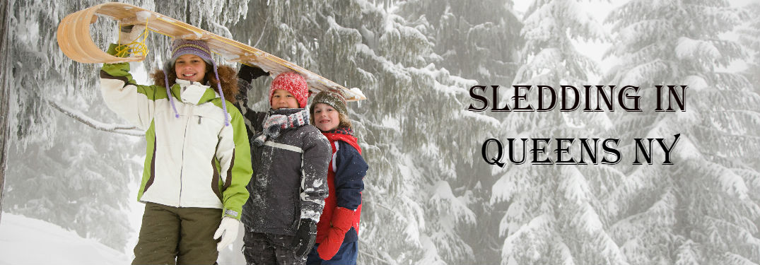 Children with sled in the snow